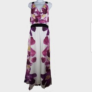 Express Maxi Dress Womens L Sheer Orchids Lined